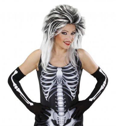 Lange Skelett-Handschuhe für Erwachsene