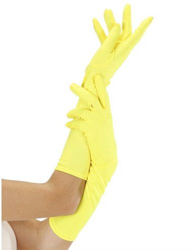 Lange neongelbe Handschuhe für Erwachsene