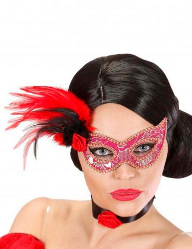 Rosa-goldene Maske mit Federn für Erwachsene
