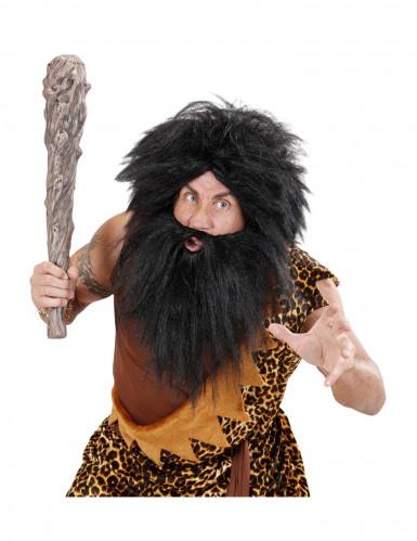 Schwarze Perücke mit Bart für Erwachsene-2