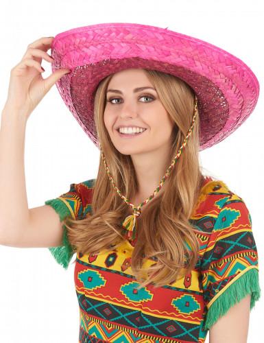 Pinker mexikanischer Sombrero für Erwachsene-2