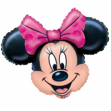 Minnie Maus™ Aluminium Luftballon schwarz-rosa 71x58cm