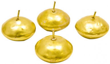 4 Schwimmkerzen Weihnachtsdeko gold