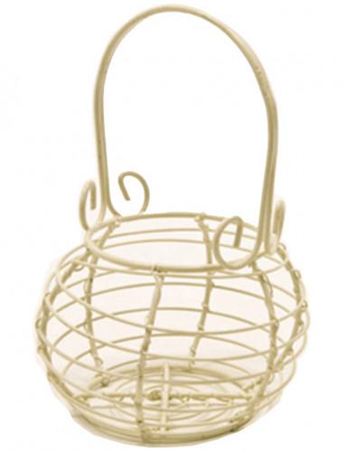 Elfenbeinfarbenes Gärtnerkörbchen aus Metall