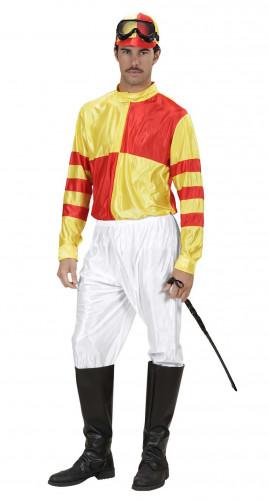Gelb-rotes Jockey-Kostüm für Herren