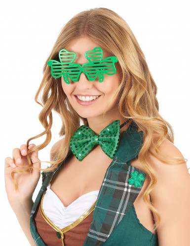 Lustige Kleeblatt-Brille St. Patrick's Day grün-1
