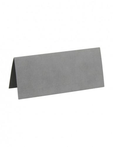10 rechteckige Tischkarten in Silber