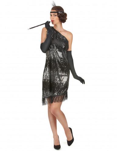 Schwarz-silbernes 20er Jahre-Kostüm für Damen