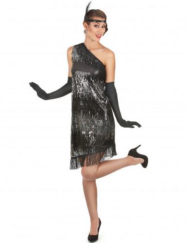 Schwarz-silbernes 20er Jahre-Kostüm für Damen-1
