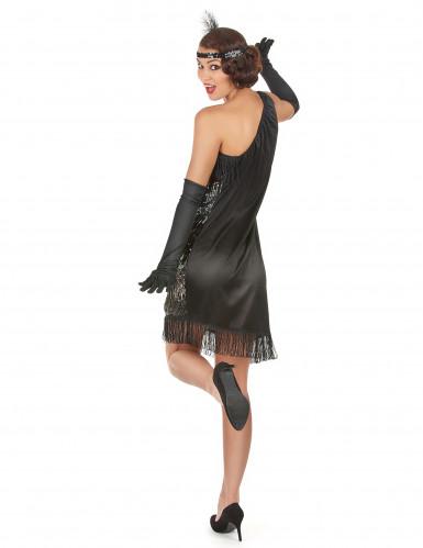 Schwarz-silbernes 20er Jahre-Kostüm für Damen-2