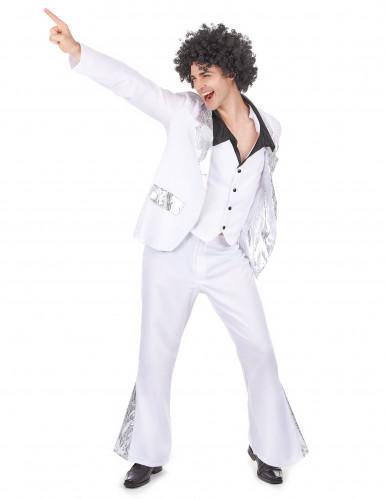 Weiß-silbernes Disco-Kostüm für Herren