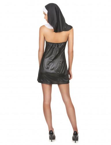 Sexy Nonnen-Kostüm für Damen schwarz-weiss-2