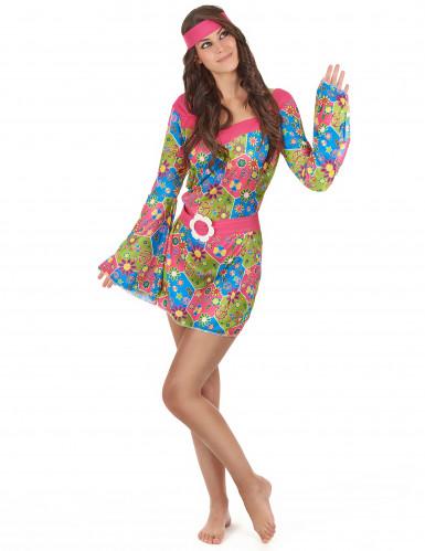 Hippie-Kostüm mit Blumen für Damen