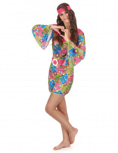 Hippie-Kostüm mit Blumen für Damen-1