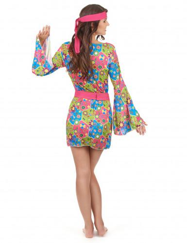 Hippie-Kostüm mit Blumen für Damen-2