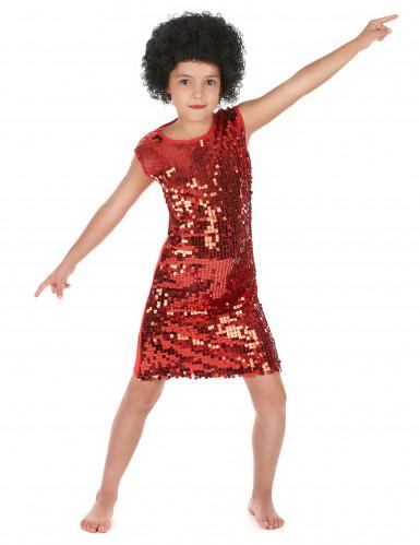 Rotes Disco-Kostüm mit Pailletten für Mädchen
