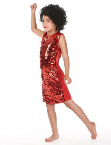 Rotes Disco-Kostüm mit Pailletten für Mädchen-1