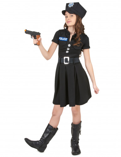 Polizei-Kostüm mit Kappe für Mädchen-1