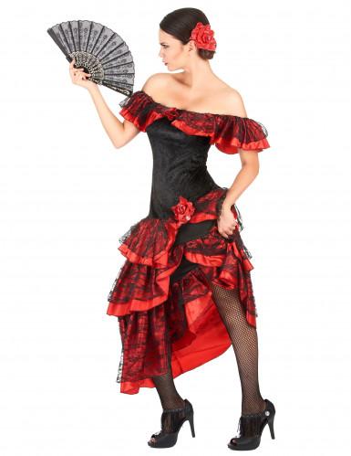 Schwarz-rote Flamenco-Tänzerin - Kostüm für Damen-1