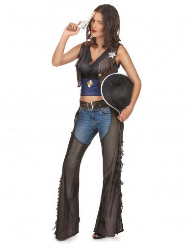 Cowgirl-Kostüm mit Beinschutz für Damen-2