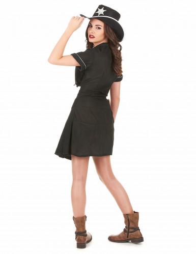 Sheriff-Kostüm für Damen Western schwarz-2