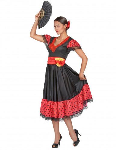 Gepunktetes Flamenco-Tänzerinnen-Kostüm für Damen-1