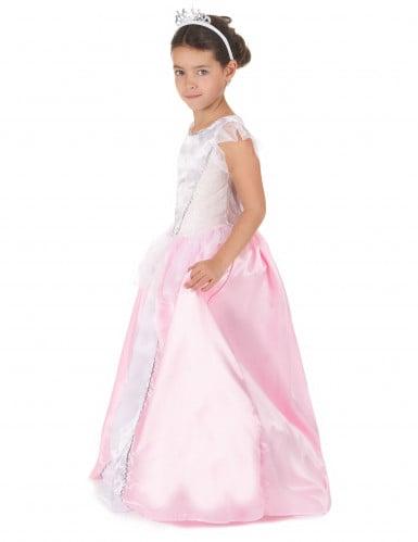 Prinzessinnen-Kostüm mit Reifrock für Mädchen weiss-rosa-1
