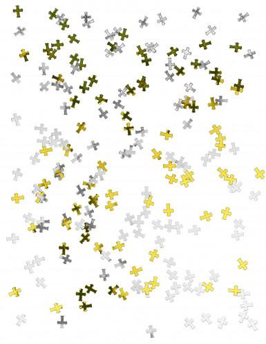 Silbernes und goldenes Kreuz-Konfetti-1