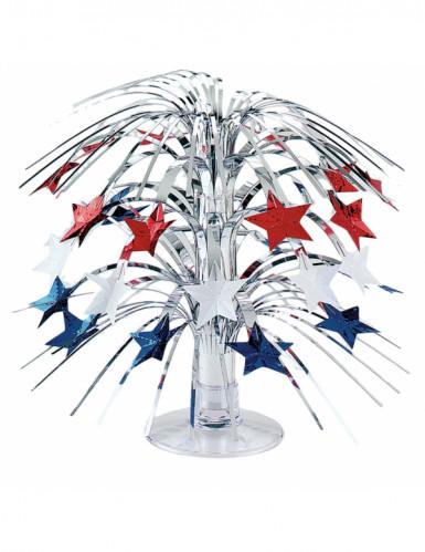 USA Tischsdekoration Sterne auf silbernem Sockel bunt 21,5cm