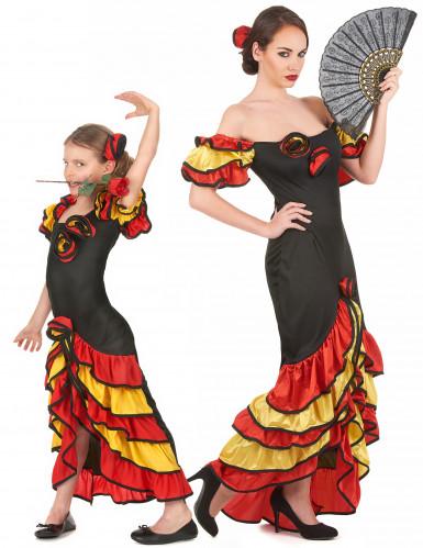 Flamencotänzerinnen-Paarkostüm für Mutter und Tochter