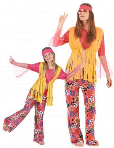 Buntes Hippie-Paarkostüm für Mutter und Tochter
