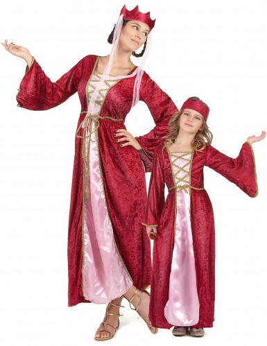 Mittelalter-Königin-Paarkostüm für Mutter und Tochter