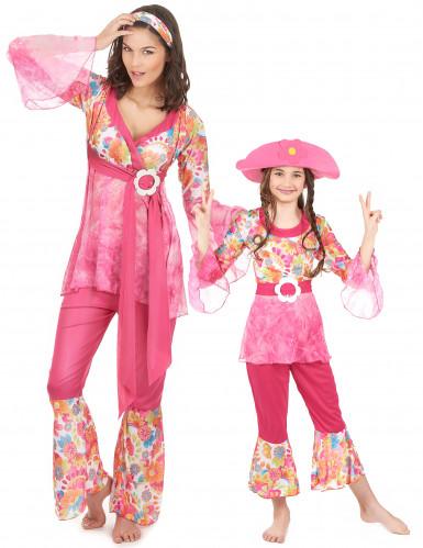 Rosa Hippie-Paarkostüm für Mutter und Tochter