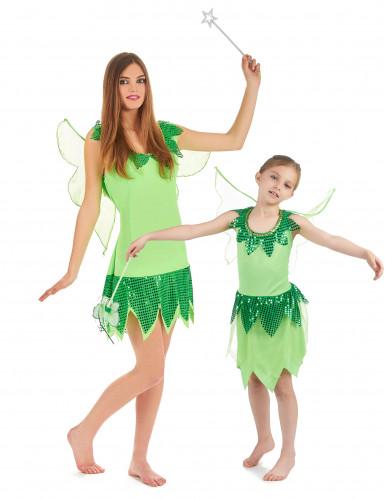 Feen-Paarkostüm Grün für Mutter und Tochter