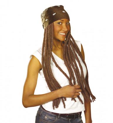 Braune Rasta-Perücke mit braunem Kopftuch für Erwachsene