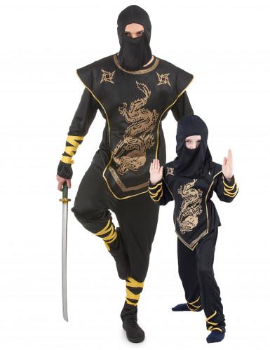 Ninja-Paarkostüm schwarz und gold Vater-Sohn
