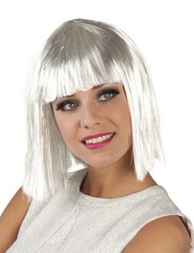 Weiße Kurzhaar-Perücke für Damen