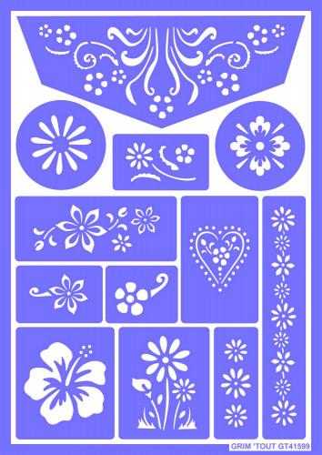 Wiederverwendbare Grim'tout Make-up-Schablone Blumen