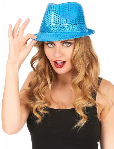 Blauer Pailletten-Hut für Damen-1