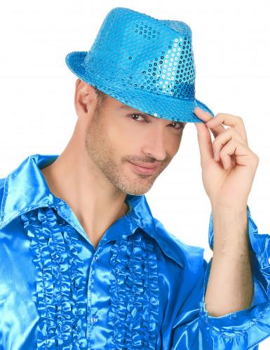 Blauer Pailletten-Hut für Damen-2