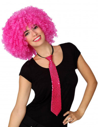 Fuchsiafarbene Pailletten-Krawatte für Erwachsene