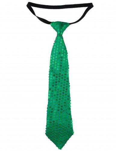 Grüne Pailletten-Krawatte für Erwachsene