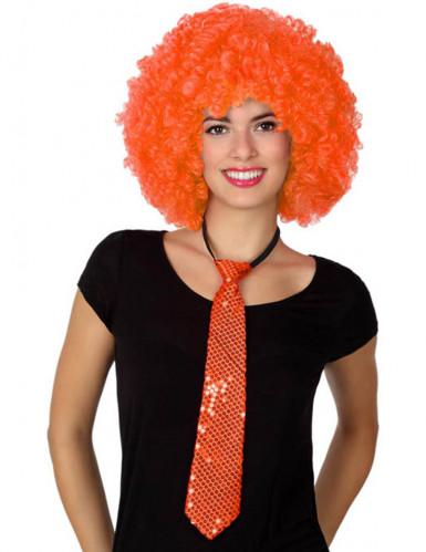 Orange Pailletten-Krawatte für Erwachsene