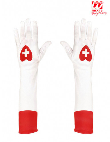 Lange weiße Krankenschwester-Handschuhe-1