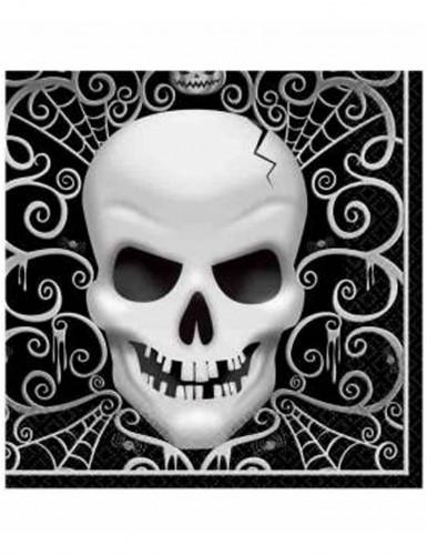 16 Totenkopf Papier-Servietten Halloween