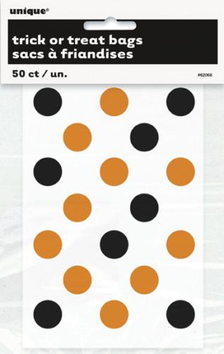 Transparente Süßigkeiten-Tüte mit orange-schwarzen Punkten