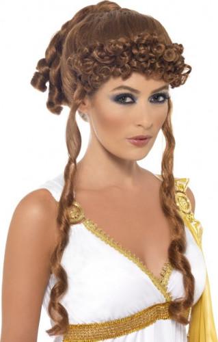 Kastanienbraune Griechische Göttinnen-Perücke für Damen