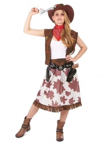 Geflecktes Cowgirl-Kostüm für Damen