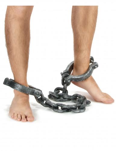 Gefangenen-Kette Kostümzubehör Fussfessel grau-1