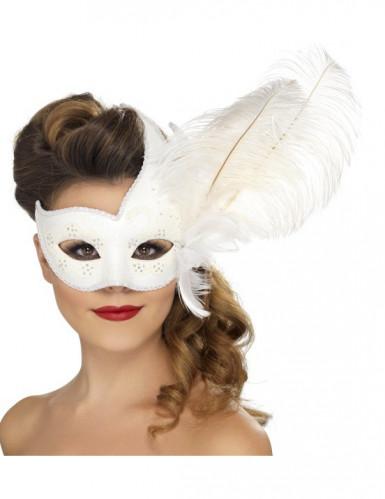 Venezianische Maske in Weiß mit weißen Federn für Erwachsene
